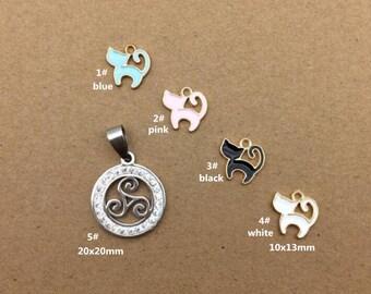 10PCS, Enamel Charm, Cat Charm, Jewelry Charm, Craft Supplies, Gold Tone