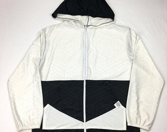 50% OFF SALE One of a Kind - BLK n Wht Cube Zip Up ( Medium )