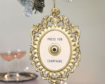 Press For Champagne Christmas Ornament/bottle charm