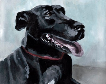 Great Dane Painting, Giclee Art Print, Dog Painting, Black Dog Print