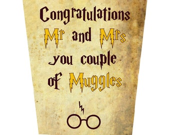 Congratulations Mr and Mrs, you Couple Of Muggles Wedding Card