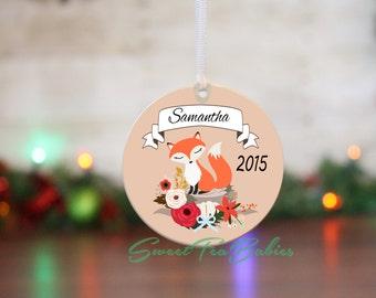 Personalized ornament, fox ornament, girls ornament, girl gift, Christmas fox, Little girls ornament, custom ornament