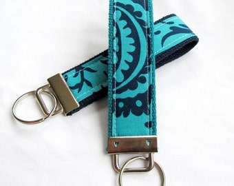 Key Fob Key Chain Wristlet in Amy Butler Acanthus in Teal - designer fabric Keychain