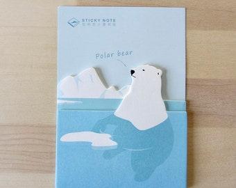 Polar Bear Sticky Notes, Polar Bear Memo Pad, Bear Planner Supplies Journal, Polar Bear Post It Notes, Kawaii Arctic Animal Gift Sticky
