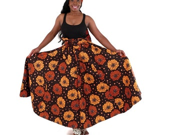 Handmade Long Skirt: Brown Flowers