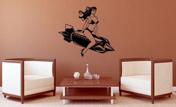 Bomber Betty Vinyl Wall Decal-Choose Any Color