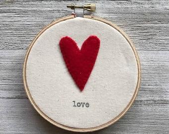 Felt Heart Embroidery Hoop