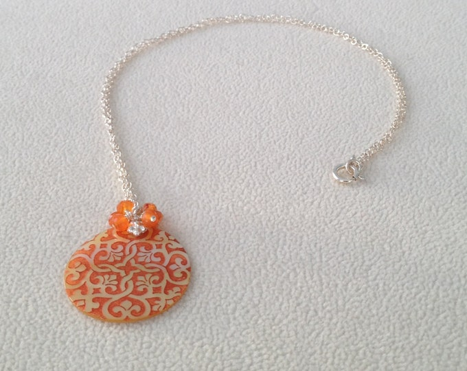 Orange Carnelian Cherry Blossom / Daisy / Lattice Mother of Pearl Shell Pendant Necklace
