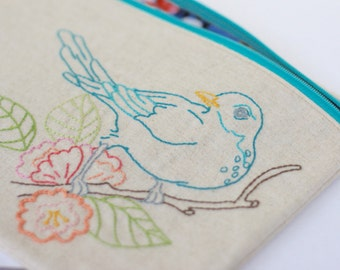 Embroidered Linen Clutch Handbag Zipper Pouch Bird Print with Floral