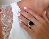 Black Stone Ring, Druzy S...