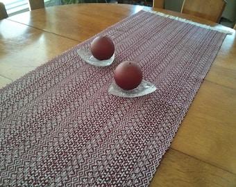 Handwoven TABLE RUNNER, table decor, kitchen linens, reversible, burgundy red,