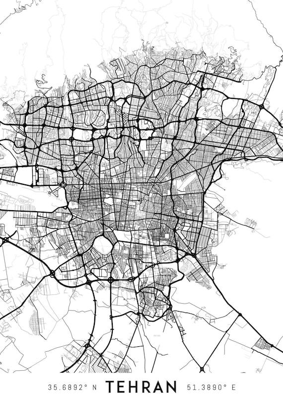 Tehran map print Printable Tehran map art Tehran print Iran