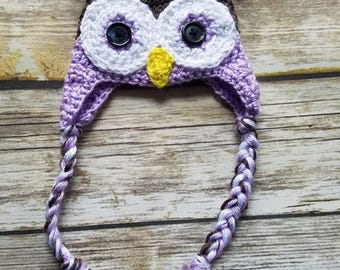 Newborn Owl Earflap Hat... Beautiful Taupe and light purple color and button eyes