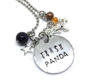 Trash Panda Necklace, Hand Stamped Raccoon Jewelry, Superhero Comic Book Geeky Gift