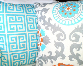 Aqua Gray Orange Pillow Covers, Decorative Throw Pillow, Cushions, Grey Suzani Greek Key on Natural, Couch Pillows, Set of Two Various Sizes