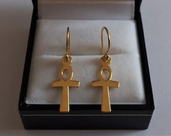 18ct Gold over Sterling Silver Ankh Cross Earrings.