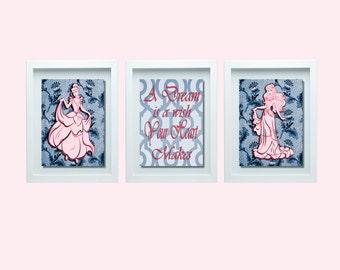 Cinderella Wall Art, Cinderella Nursery art, Girls Room Decor, Pink Decor, Inspirational Quote, Inspirational Art, Girls Nursery Decor