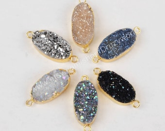 Wholesale Gold Plated Oval Rainbow Natural Titanium Agate Druzy Connector Double Loops Drusy Gemstone Bead Geode Crystal Jewelry Charm G1285