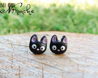 Earrings studs Stud Jiji kitty cat black kiki the little witch (fimo) geek miyazaki manga ghibli totoro Christmas gift idea