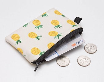 Pineapple Coin Purse, Coin Wallet, Zippered Fruit Pouch, Zip Purse, Mini Coin Bag, Small Makeup Bag - yellow pineapple fruit