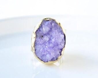 Raw Druzy Ring, Druzy Ring, Purple Druzy Ring, Purple Ring, Statement Ring