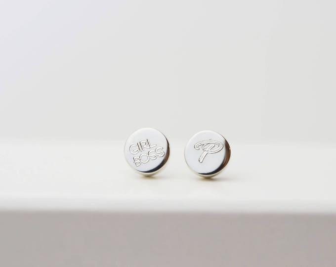 Custom Engraved Stud Earrings // Stud earring gift for her // Bridesmaids gift // Girl boss earrings