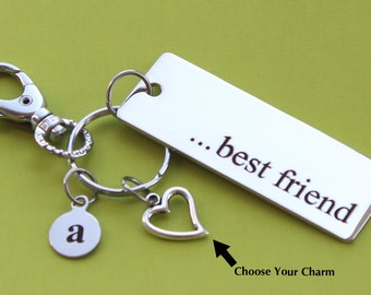 Personalized Best Friend Key Chain Stainless Steel Customized with Your Charm & Initial -K490