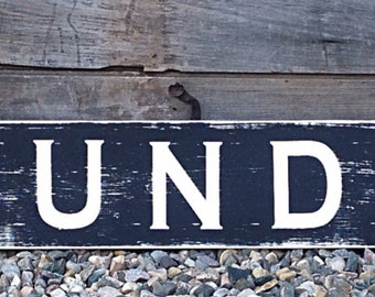 laundry, wood sign, laundry room decor, wooden sign, laundry decor, farmhouse sign, rustic wood sign, rustic sign, hand painted sign, 48x8