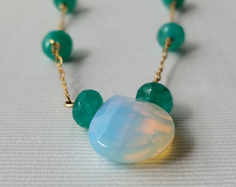 Amazonite ang Opalite Gold Filled Necklace
