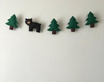 Woodland Bear and Tree Felt Garland