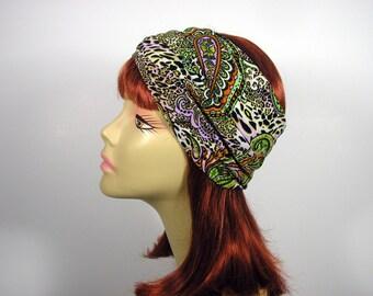 Green Paisley Print Boho Head Wrap Green Paisley Headwrap Lycra Headgear Lycra Workout Headband Green Paisley Yoga Head Wrap Boho Headwrap