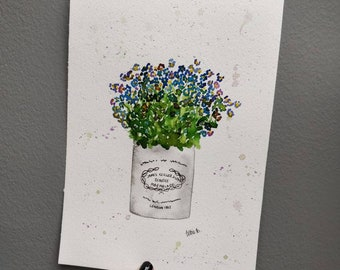 James Kieller jar of Forget Me Nots original watercolour painting. A4.