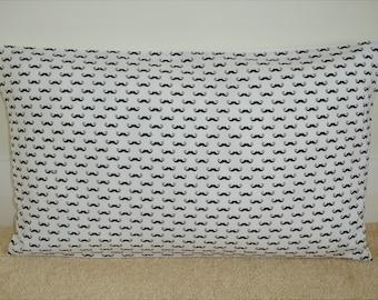 "Moustache 12x20 Pillow Cover Oblong Bolster Decorative 20""x12"" Cushion Slip Sham Case Pillowcase Black and White Moustaches Mustache 20x12"