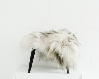 Genuine Icelandic Sheepskin Chair Cover White with Black Ends / 40 x 40 Centimeters / Sheepskin Chair Throw White / Shaggy Sheepskin.