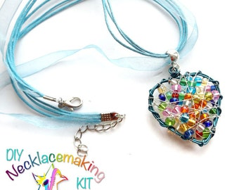 DIY Necklace, Kids Craft Kit, Rainbow Heart necklace kit, DIY Beaded Heart Pendant, Wire Wrapped Heart kit, Holidays Craft, girls necklace