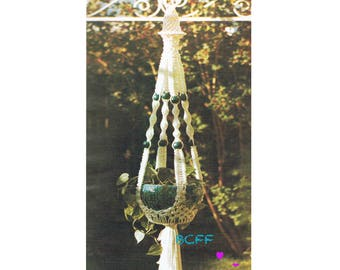Vintage Macrame Plant Hanger Pattern - Digital Macrame Pattern Instant Download on BC Funk Factory