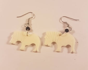 "Tribal Earrings, ""Elephant "" Naturally Organic, Bone, Handcrafted"