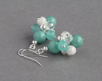 Aqua Stardust Earrings - Turquoise Wedding Jewellery - Mint Pearl Bridesmaids Jewelry - Seafoam Cluster Drop Earring - Bridal Party Gifts