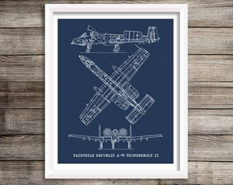 "A-10 Thunderbolt Art, Aircraft Blueprint, Blueprint Decor, A-10 Warthog, Instant Download, Aviation Art, Airplane Blueprint, 8x10"", 11x14"""