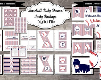 Baseball Baby Shower Party Package - Digital, Editable, Printable File - Instant Download