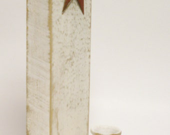Rounded Edge Candle Holder with Star, Primitive Americana Decor, Candle Holders, Country Farmhouse Decor, Wall Sconces