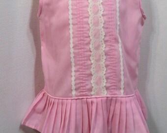 Vintage Dress 60s MOD Little Girls Candy Pink Top Tunic Aline Baby 12M 12 Months 18 Months 18M  Sundress