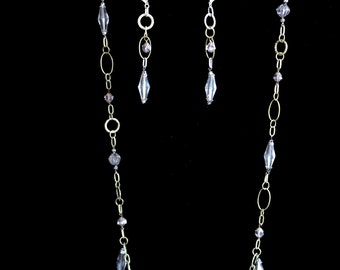 Amethyst and Oxidized Chain Necklace with Earrings