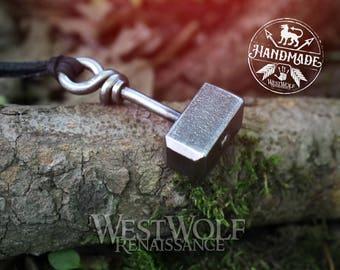 Hand-Forged Steel Thor's Hammer Pendant -- Mjolnir/Norse Mythology/North/Asgard/Blacksmith/Necklace
