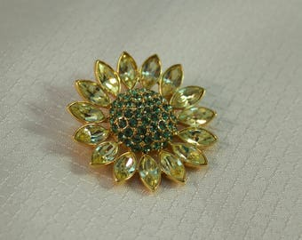 Givenchy Yellow and Green Crystal Daisy Brooch