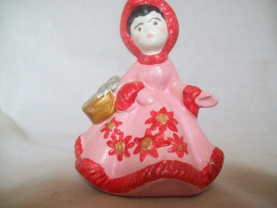 Christmas Girl, Girl in Pink and Red, Winter Girl, Holiday Girl, Girl decor, Girl Room Decor, Girl Gift, Gift, Hand Painted Ceramic
