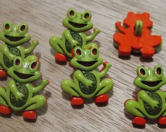 Set of six frog buttons