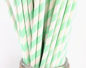 MINT GREEN paper straws-set of 25- Vintage chic mint striped paper straws, mint paper straws, vintage mint green