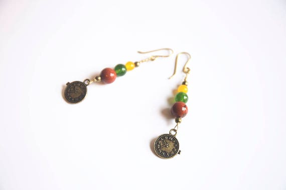 Brass  long earrings, red jasper, green and yellow jade, clock charm, boho, gypsy, hippie, surfer, steampunk style