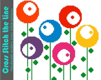Retro cross stitch pattern. Modern embroidery design. Contemporary sampler chart. 'Round retro flowers'